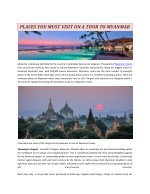 PLACES YOU MUST VISIT ON A TOUR TO MYANMAR