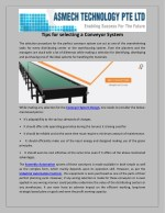 Tips for selecting a Conveyor System