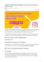 How to Gain Followers on Instagram Fast In 2018