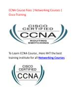 CCNA Course Fees | Networking Courses | Cisco Training | IIHT