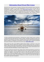 Information About Private Pilot License