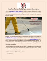 Benefits of using the High pressure water cleaner