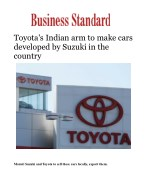 Toyota's Indian arm to make cars developed by Suzuki in the country