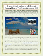 Transportation from Cancun to Holbox and Amazing Places to Visit Mexico this summer 2018