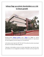 Infosys Flags Up Activist Shareholders as a Risk to Future Growth