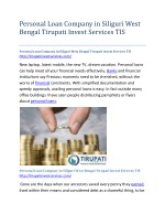 Personal Loan Company in Siliguri West Bengal Tirupati Invest Services TIS
