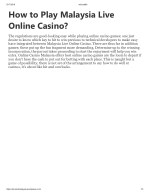 How to play malaysia live online casino?