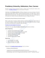 Presidency University, Admissions, Fees, Courses