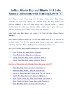Indian Hindu Boy Baby Names with Letter C | Hindu Girl Baby Names Starting Alphabet C