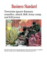 Terrorists ignore Ramzan ceasefire, attack J&K Army camp and kill jawan