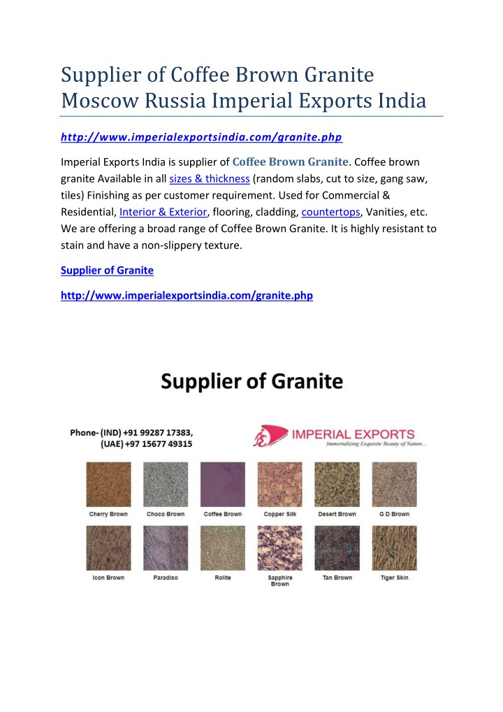 supplier of coffee brown granite moscow russia n.