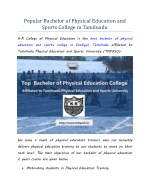Popular Bachelor of Physical Education and Sports College in Tamilnadu