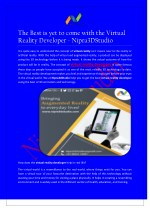 The Best is yet to come with the Virtual Reality Developer - Nipra3DStudio