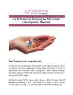 List Of Emergency Contraceptive Pills in India | Levonorgestrel | Elawoman