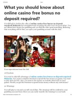 What you should know about online casino free bonus no deposit required?