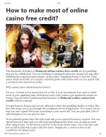 How to make most of online casino free credit?