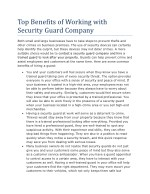 Top Benefits of Working with Security Guard Company