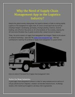 Why the Need of Supply Chain Management App in the Logistics Industry?