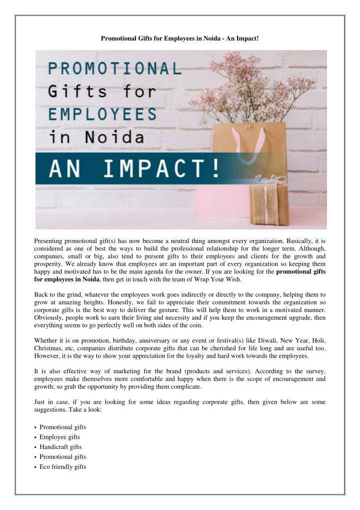 promotional gifts for employees in noida an impact n.