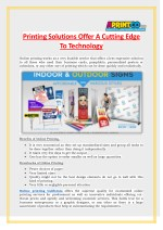 Printing Solutions Offer A Cutting Edge To Technology - Aprintco