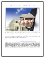 Real Estate Investment Is Approximately Understanding Your Needs