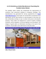 91 9717041399 Guard Cabin Manufacturers Flourishing the Portable Cabins Market