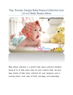 Top, Trends, Unique Baby Names Collection List  A to Z Baby Names Ideas