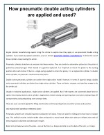 How Pneumatic Double Acting Cylinders are applied and used