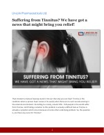 Suffering from Tinnitus? We have got a news that might bring you relief!