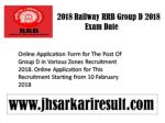 2018 Railway RRB Group D 2018 Exam Date