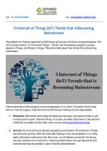 5 Internet of Things (IoT) Trends that is Becoming Mainstream