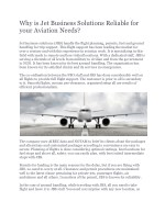 Why JBS is Reliable for Your Aviation Needs?