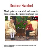 Modi gets ceremonial welcome in Singapore, discusses bilateral ties