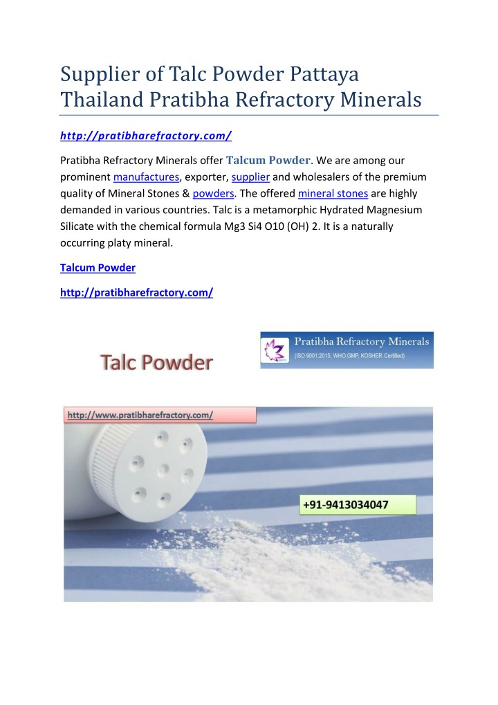 supplier of talc powder pattaya thailand pratibha n.