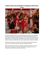 Guide to plan best destination wedding by behind the scene