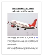 Air India No-show Govt Blames Inadequate Risk-taking Appetite