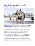 Orlando Transportation Offer For family Travelling