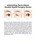 Interesting Facts About Double Eyelid Surgery Korea