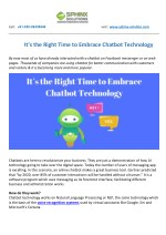 It's the Right Time to Embrace Chatbot Technology