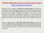 Find Best Methods to Play Free Online Casino Games
