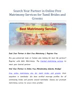 Search Your Partner in Online Matrimony Services for Tamil Brides and Grooms.pdf