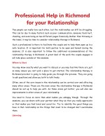 Professional Help in Richmond for your Relationship