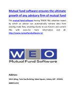 Mutual fund software ensures the ultimate growth of any advisory firm of mutual fund