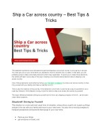 Ship a Car across country – Best Tips & Tricks