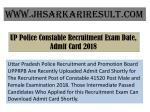 UP Police Constable Recruitment Exam Date, Admit Card 2018