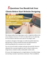 5 Questions You Should Ask Your Clients Before Start Website Designing