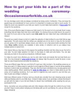 How to get your kids be a part of the wedding ceremony- Occasionwearforkids.co.uk