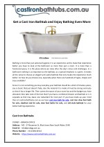 Get a Cast Iron Bathtub and Enjoy Bathing Even More