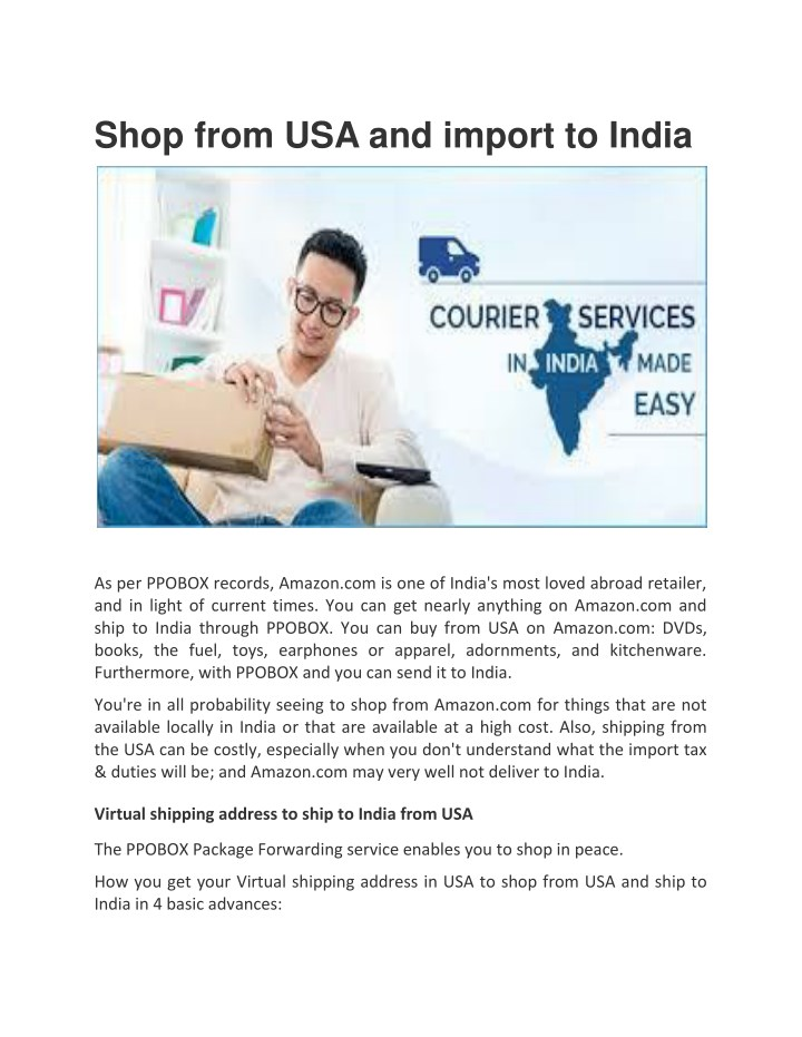 PPT - Buy from USA and Import to India PowerPoint