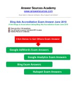 Bing Ads Accreditation Exam Answer June 2018